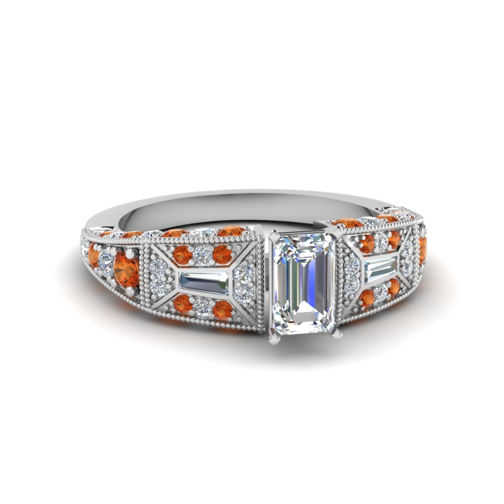 emerald cut victorian vintage style diamond engagement ring with orange sapphire in FDENR8601EMRGSAOR NL WG