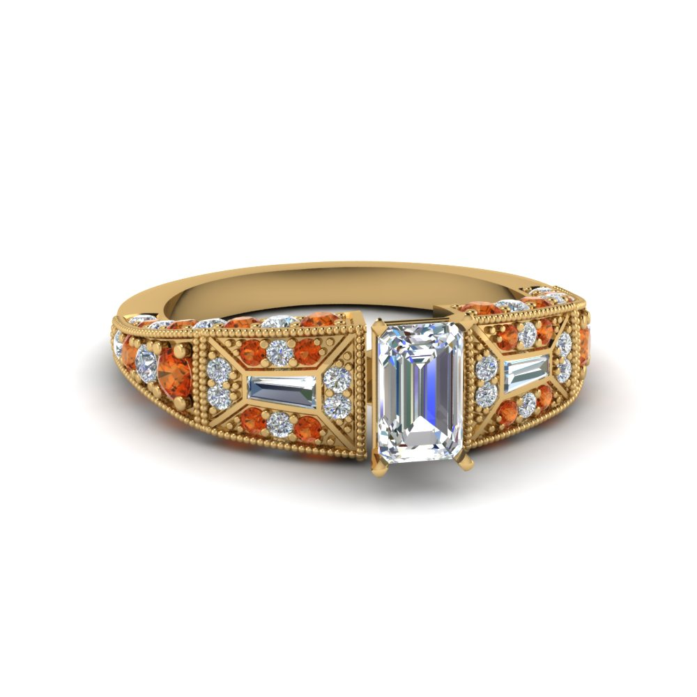 emerald cut victorian vintage style diamond engagement ring with orange sapphire in FDENR8601EMRGSAOR NL YG