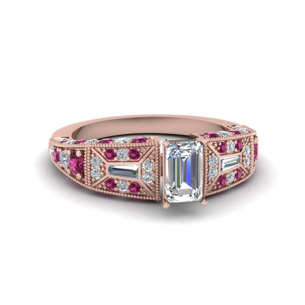 emerald cut victorian vintage style diamond engagement ring with pink sapphire in FDENR8601EMRGSADRPI NL RG