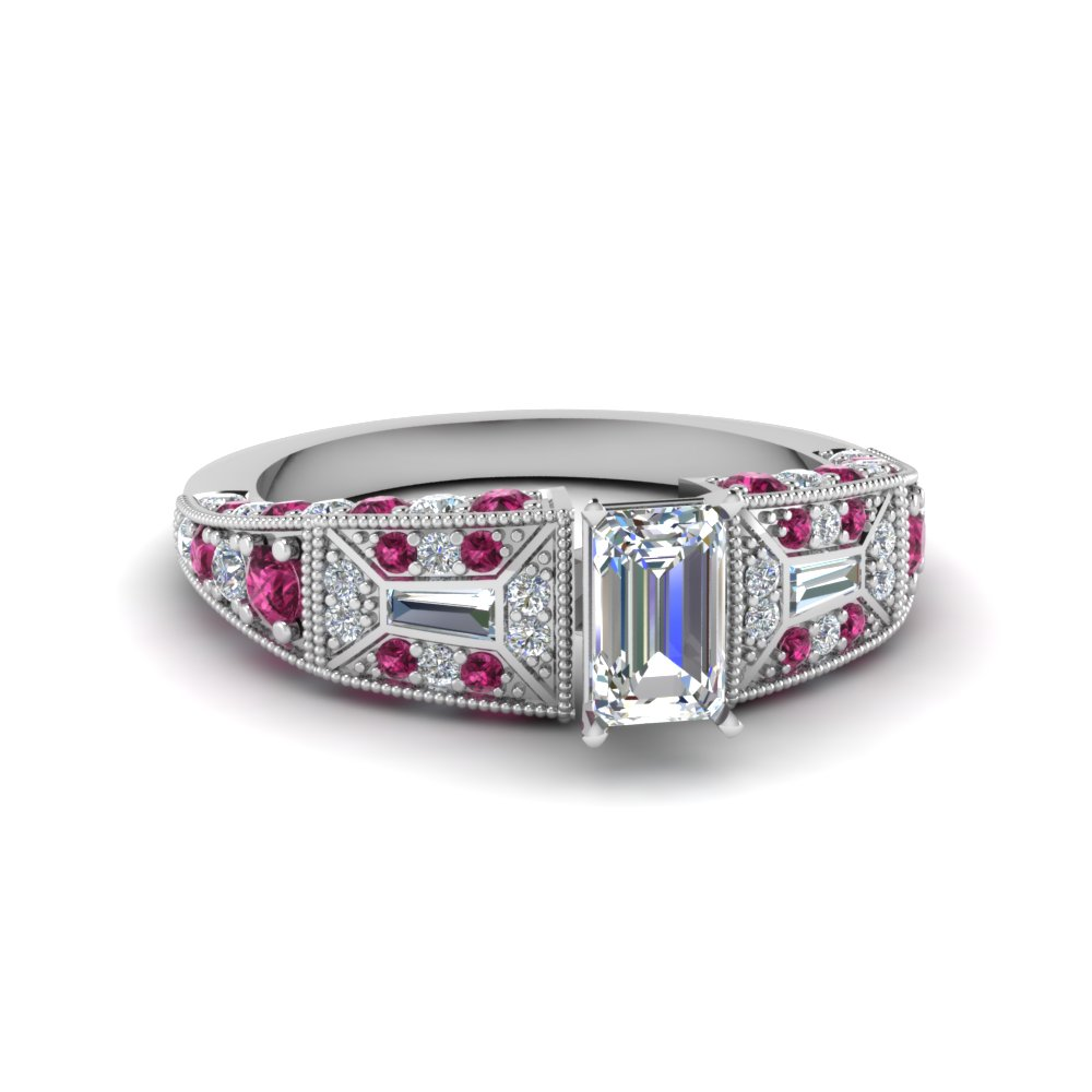 emerald cut victorian vintage style diamond engagement ring with pink sapphire in FDENR8601EMRGSADRPI NL WG