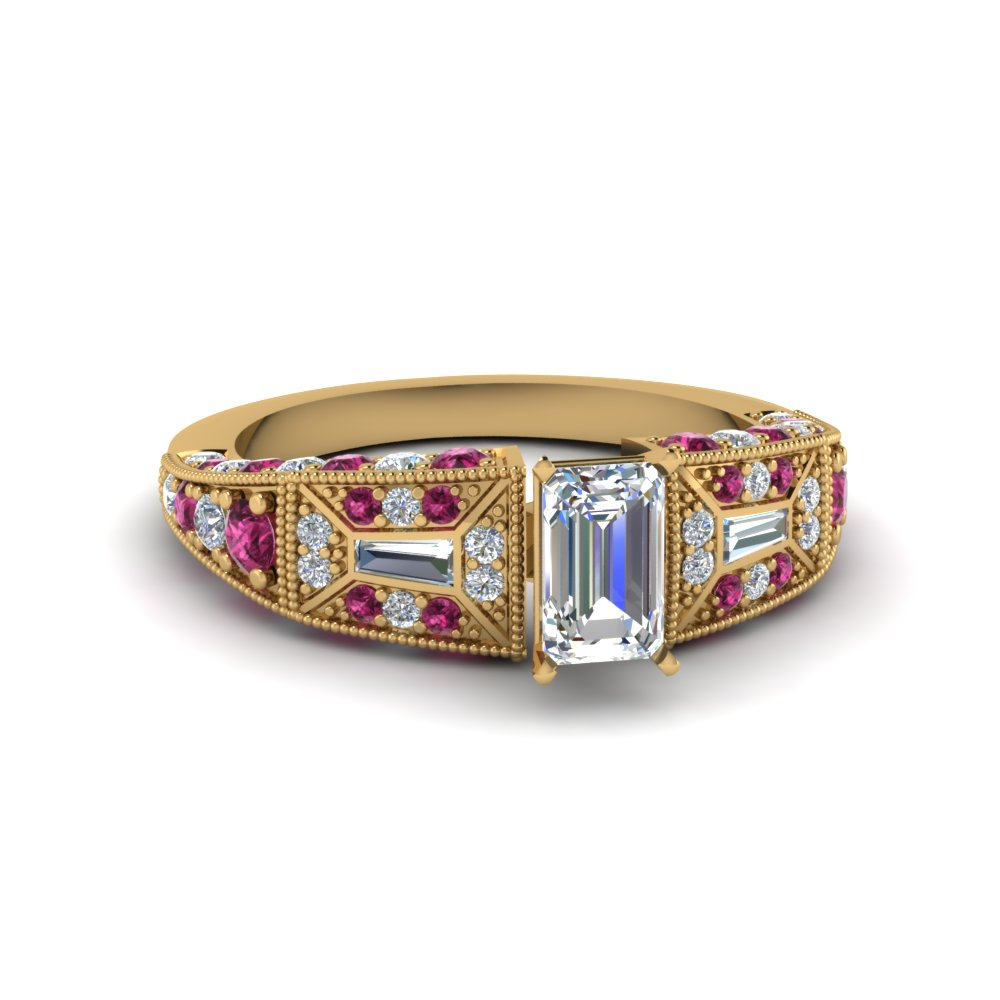 emerald cut victorian vintage style diamond engagement ring with pink sapphire in FDENR8601EMRGSADRPI NL YG