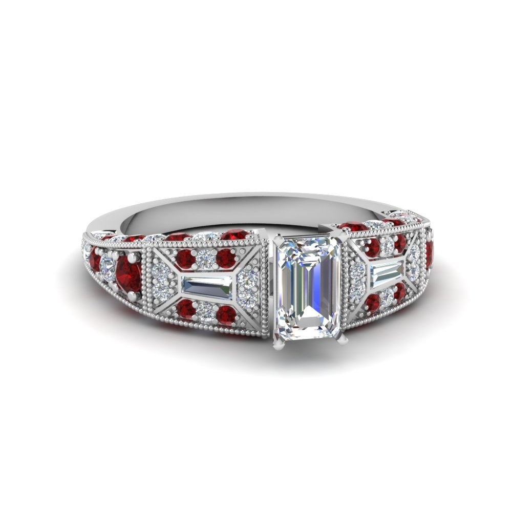 emerald cut victorian vintage style diamond engagement ring with ruby in FDENR8601EMRGRUDR NL WG
