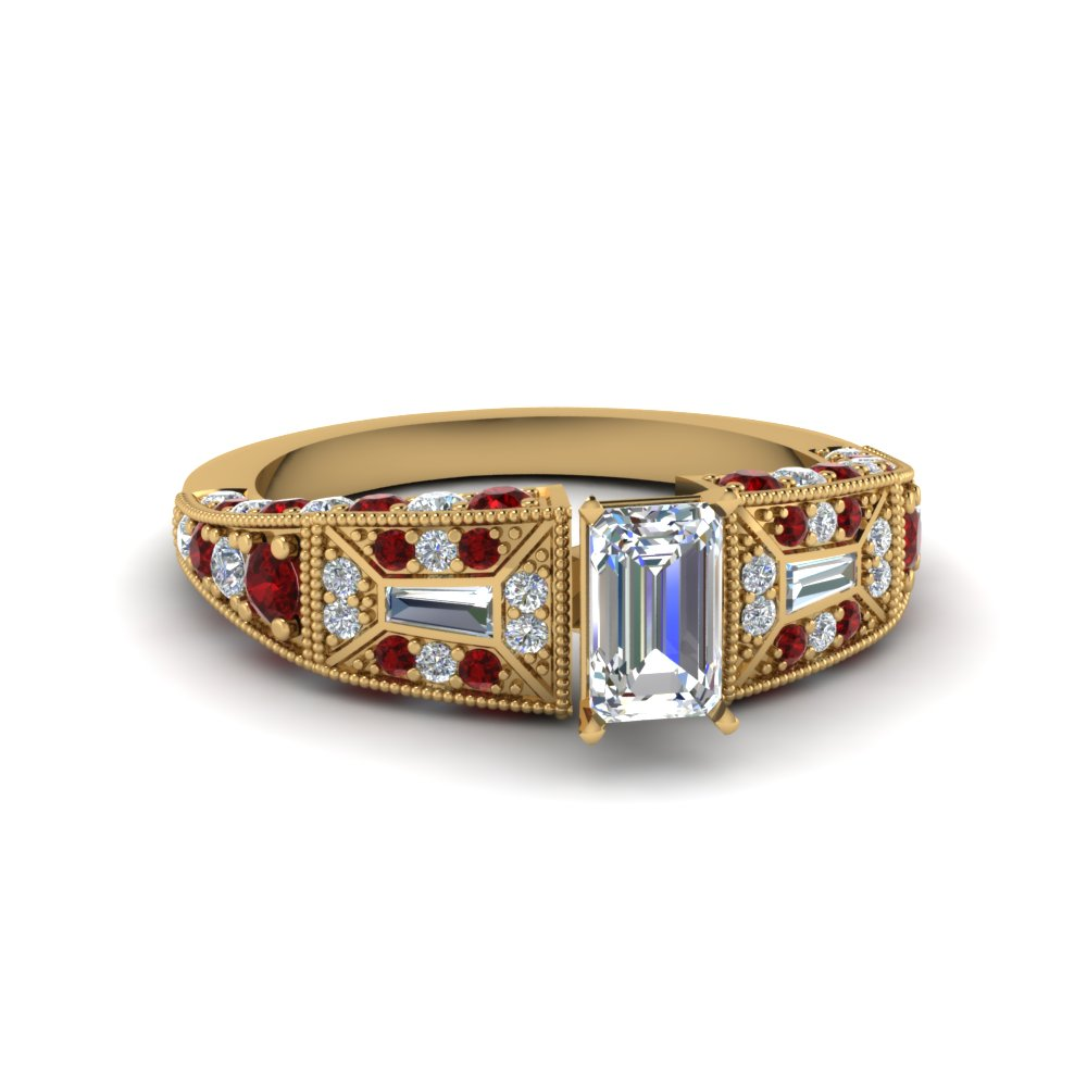 emerald cut victorian vintage style diamond engagement ring with ruby in FDENR8601EMRGRUDR NL YG