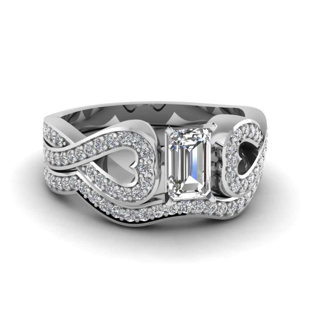entwined emerald cut diamond wedding ring set in FDENS3311EM NL WG