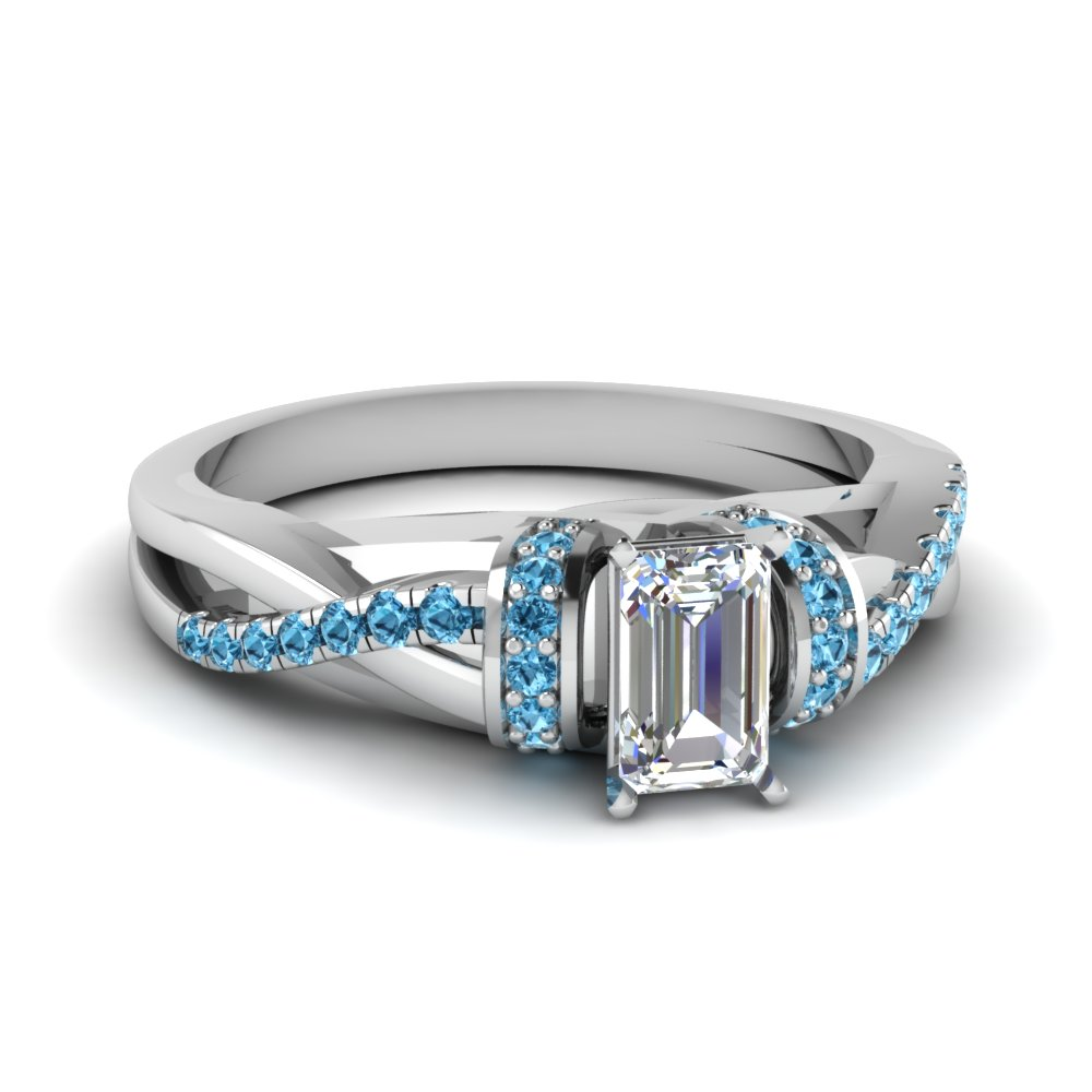Emerald Cut Blue Topaz Rings
