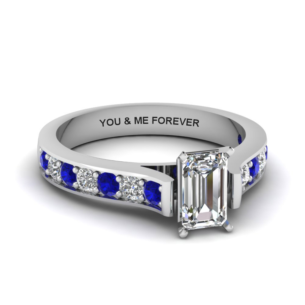 emerald cut personalized pave accent diamond engagement ring with sapphire in FDENS1102EMRGSABL NL WG EG