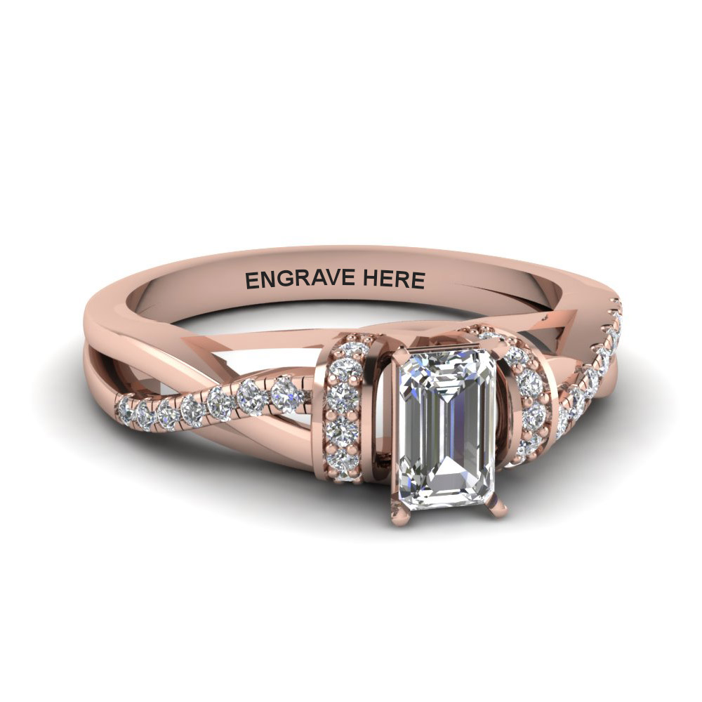 emerald cut personalized pave split diamond engagement ring in FD8659EMR NL RG EG