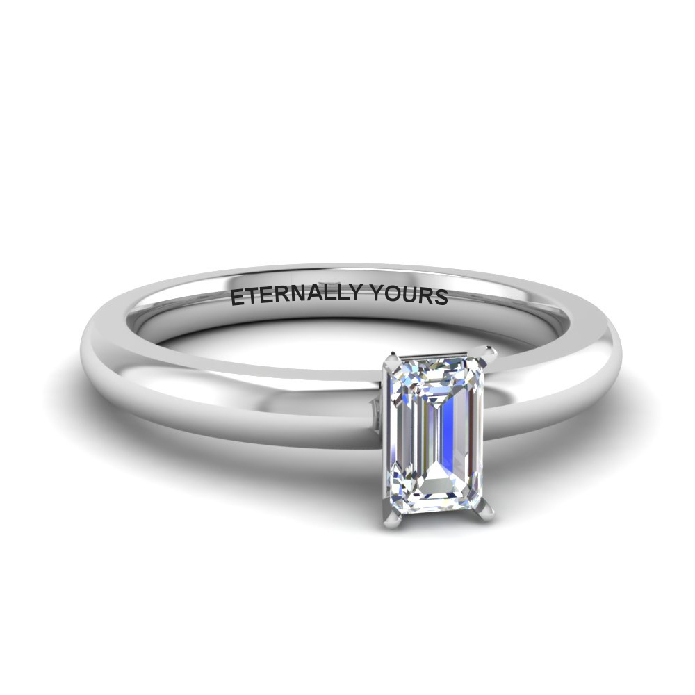 classic emerald cut diamond solitaire engagement ring in FDENR8027EMR NL WG EG