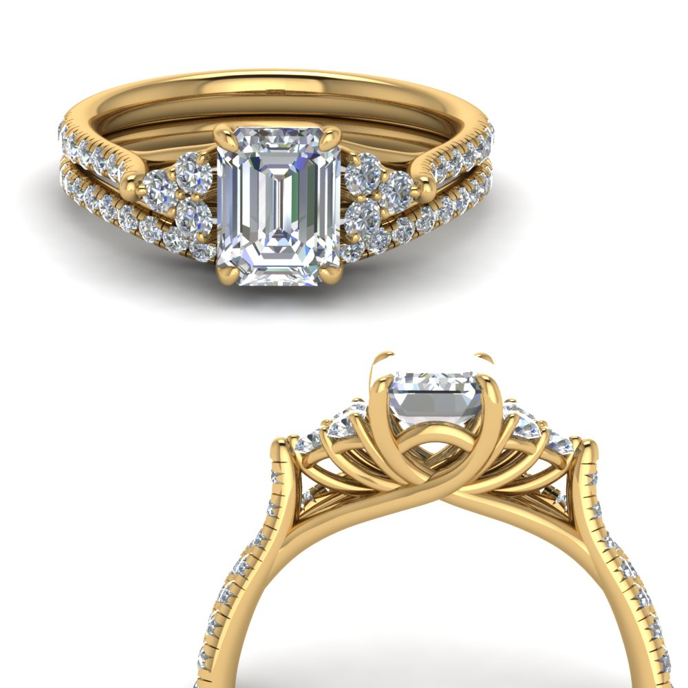 Yellow Gold Emerald Cut Bridal Sets