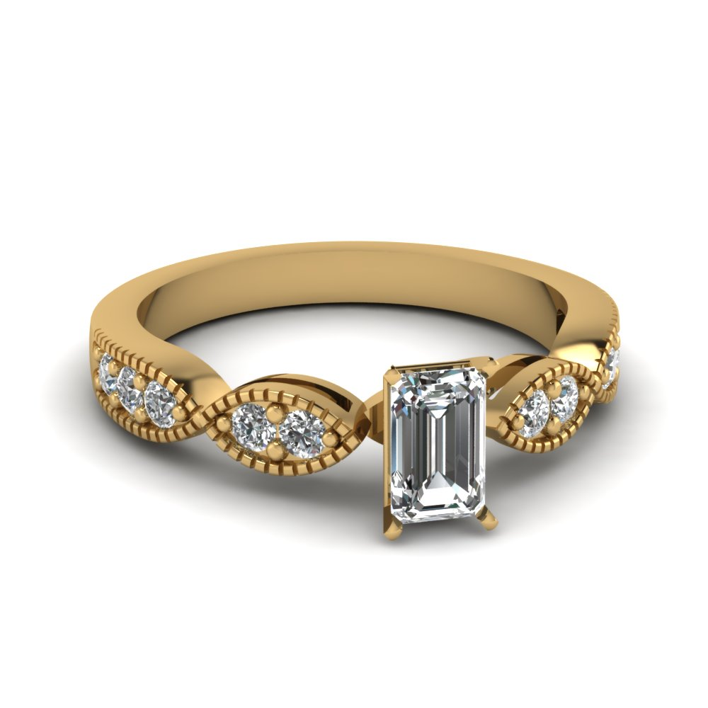 Emerald Cut Gold Petite Rings