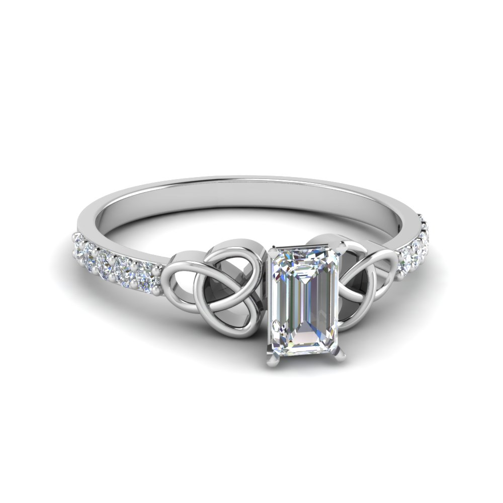 Emerald cut petite pave diamond fancy engagement ring for