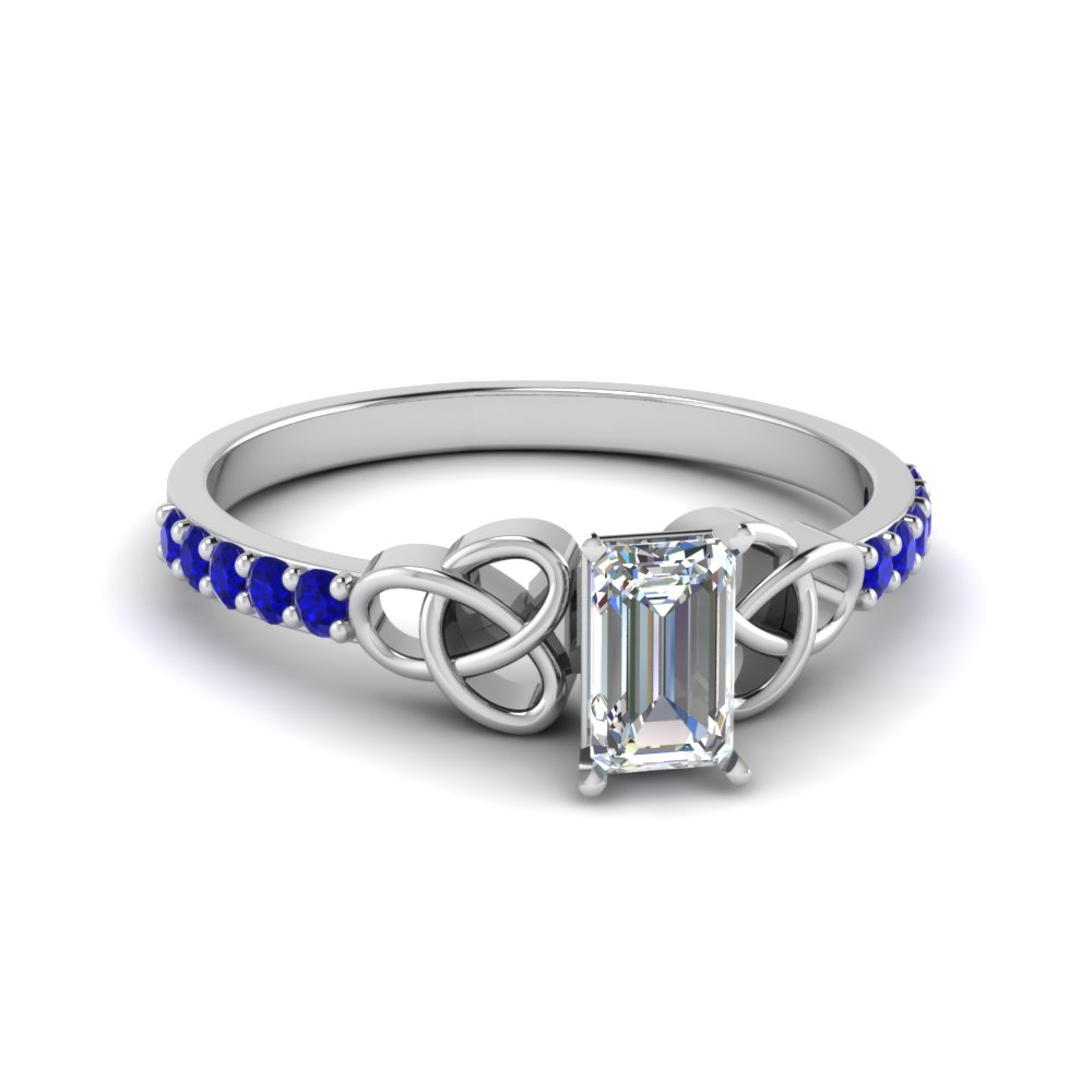 petite celtic emerald cut engagement ring with sapphire in FD8061EMRGSABL NL WG