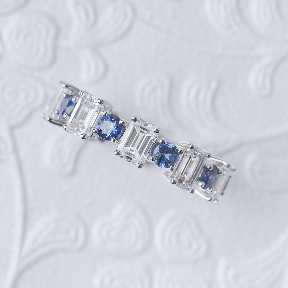 emerald cut sapphire and diamond eternity band in 14K white gold FDEWB123628EMGSABLANGLE3