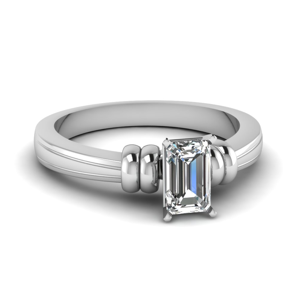 emerald cut solitaire diamond engagement ring in 14K white gold FDENR2526EMR NL WG