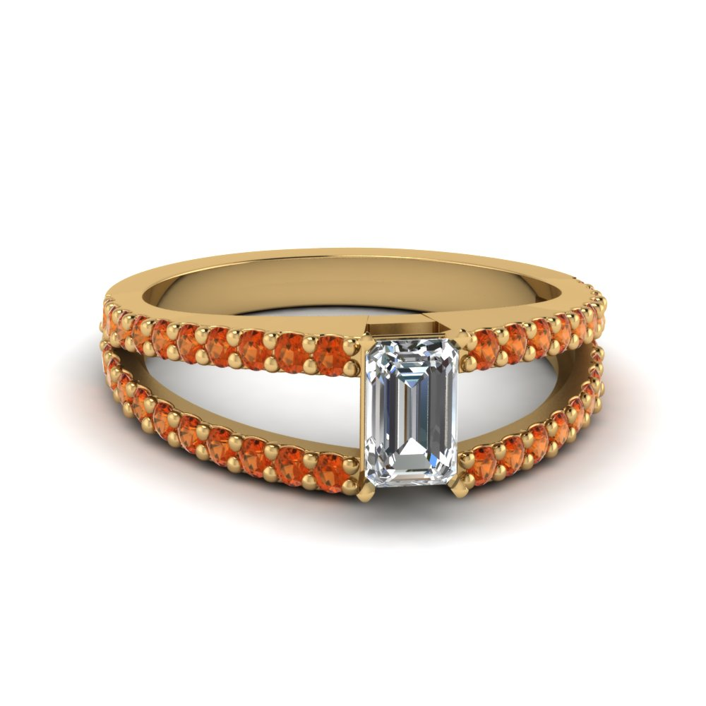Orange Sapphire Engagement Ring