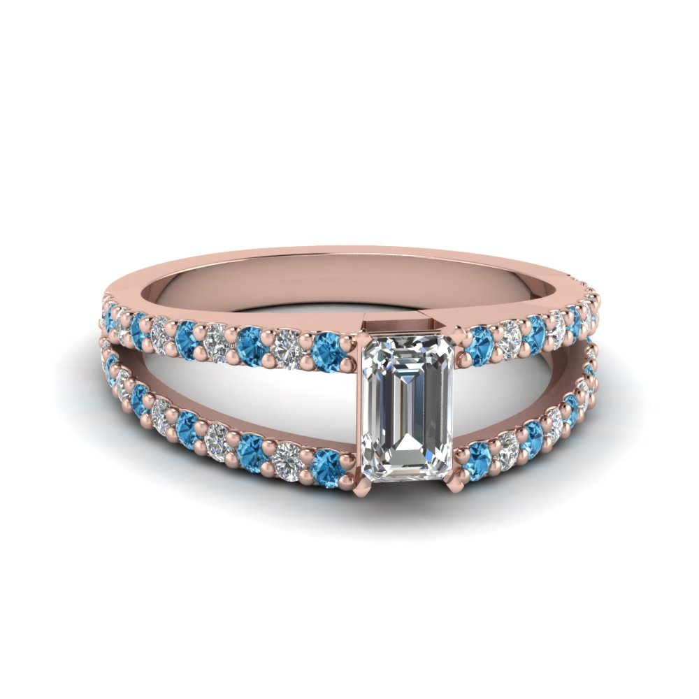 Emerald Cut Ice Blue Topaz Rings