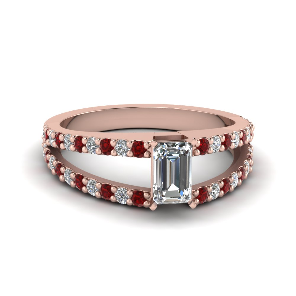 Emerald Cut Split Shank Ruby Ring