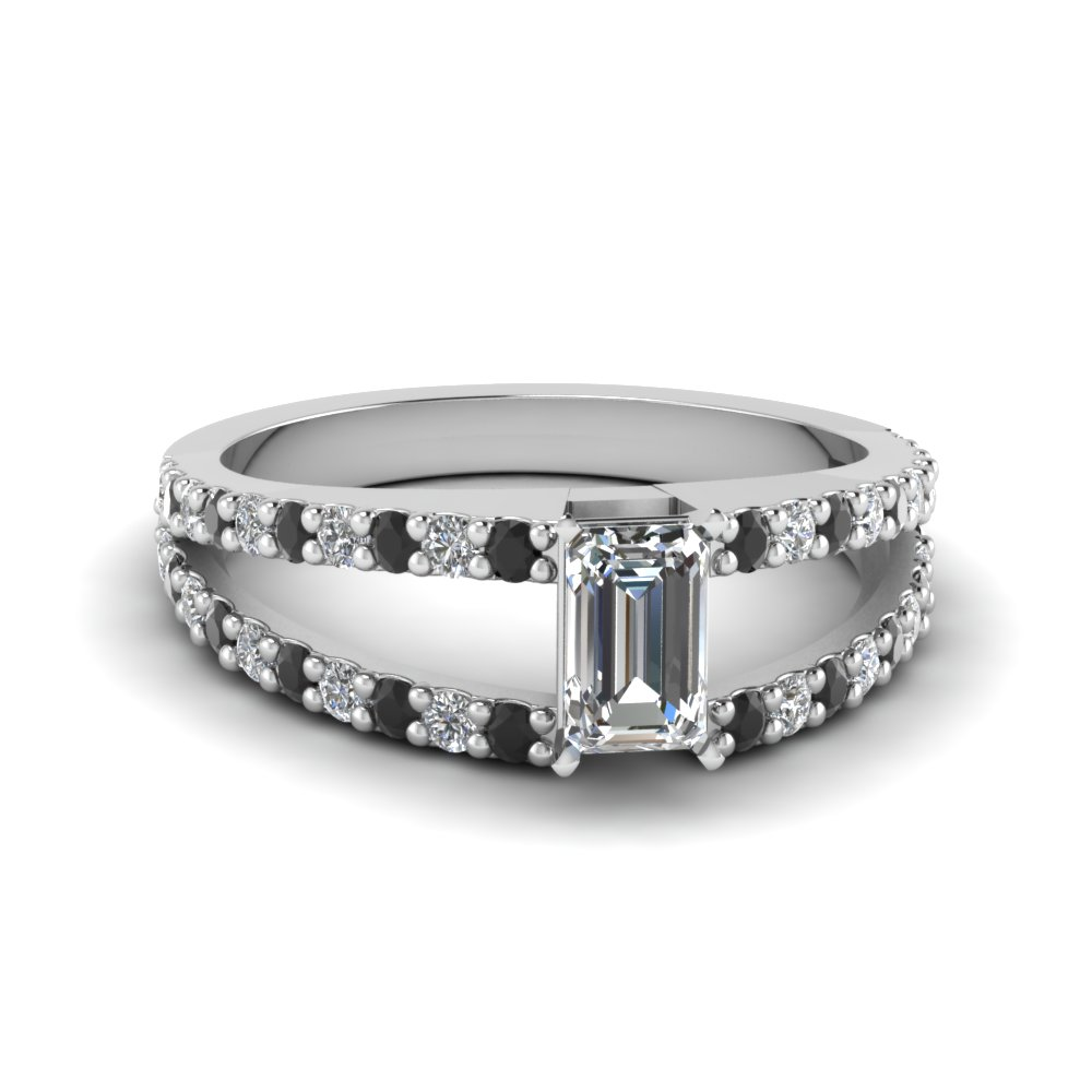 emerald cut split double band engagement ring with black diamond in FDENR8335EMRGBLACK NL WG