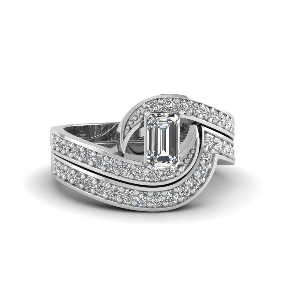 White Gold Emerald Cut Wedding Sets