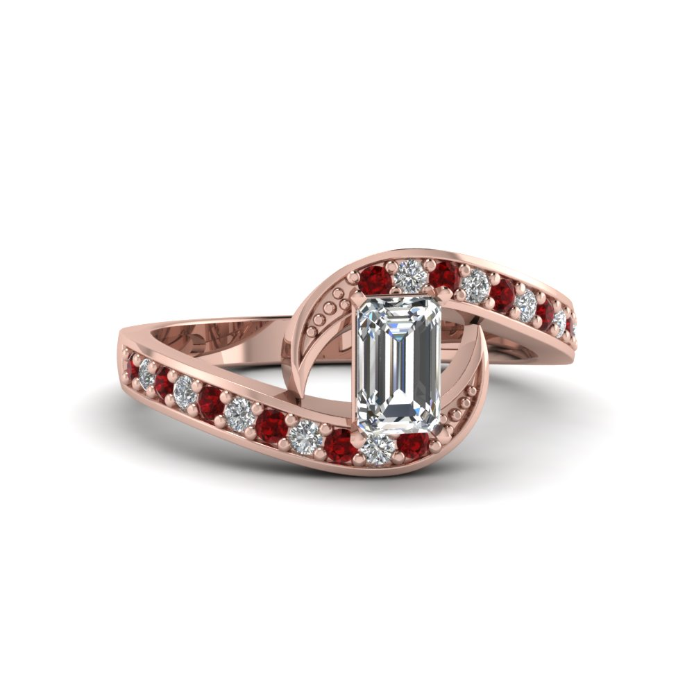emerald cut swirl pave diamond engagement ring with ruby in FDENS3006EMRGRUDR NL RG