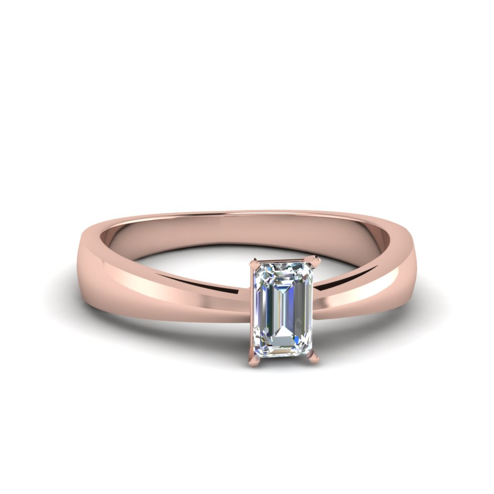 tapered emerald cut solitaire engagement ring in FDENR678EMR NL RG