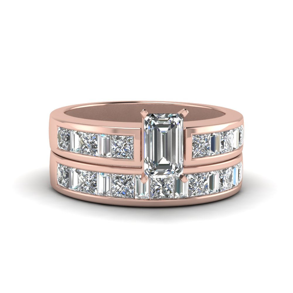 Emerald Cut Thick Band Diamond And Baguette Wedding Set In 14K Rose