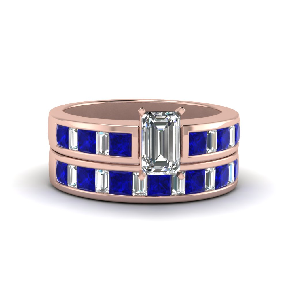 emerald cut thick band diamond and baguette wedding set with blue sapphire in FDENS350EMGSABL NL RG