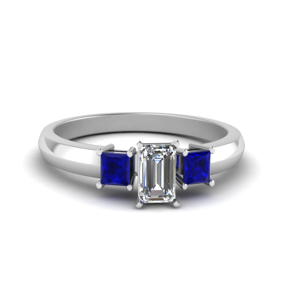 emerald cut glossy basket engagement ring 3 stone with sapphire in FDENR264EMRGSABL NL WG