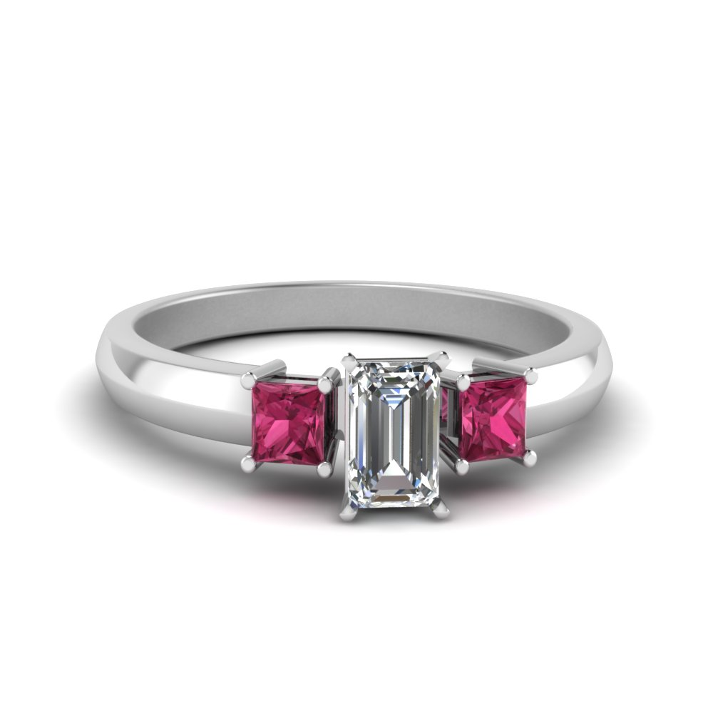 Emerald Cut Glossy Basket Engagement Ring