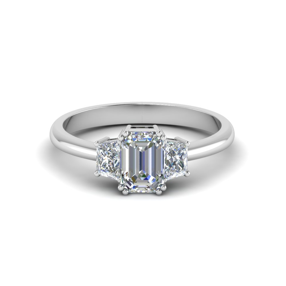 Emerald Cut Diamond Trapezoid  Engagement Ring