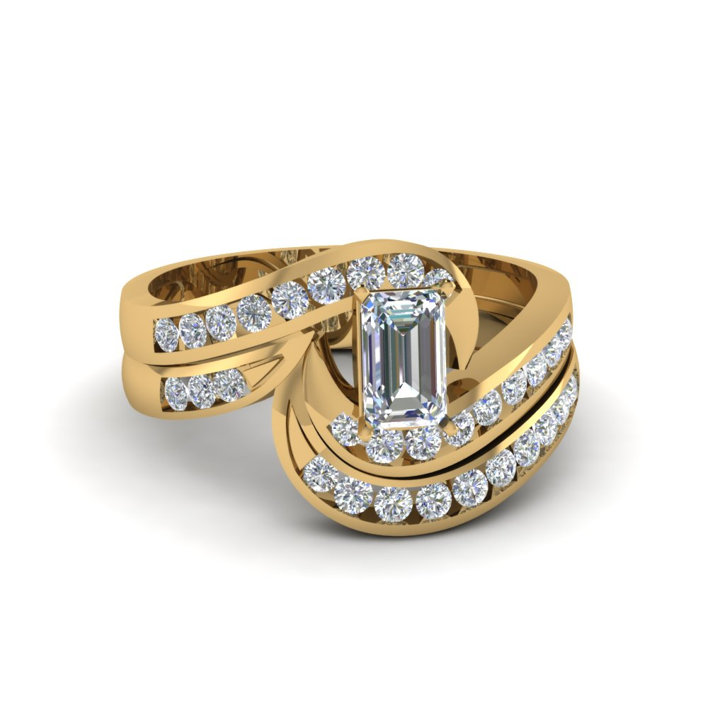 emerald cut twist channel set moissanite wedding ring sets in 14K yellow gold FDENS594EM NL YG