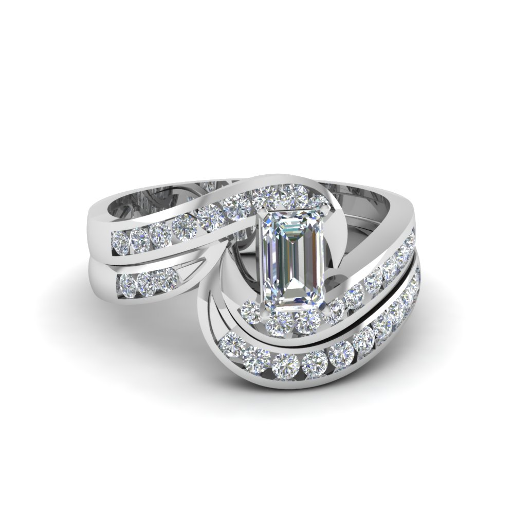 emerald cut twist channel set diamond wedding ring sets in 18K white gold FDENS594EM NL WG