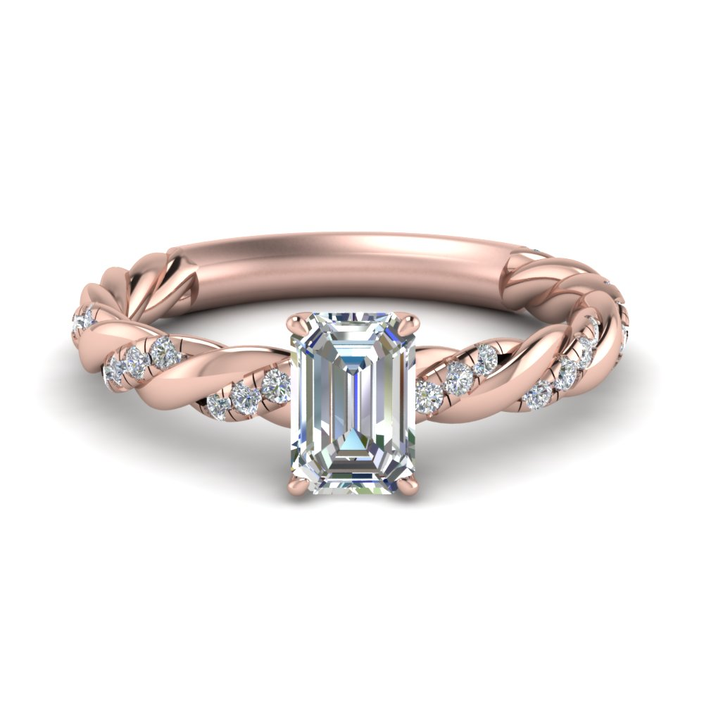 emerald cut twisted delicate diamond engagement ring in FD9127EMR NL RG