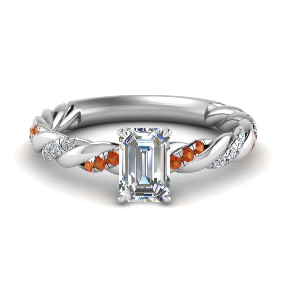 emerald cut twisted delicate diamond engagement ring with orange sapphire in FD9127EMRGSAOR NL WG