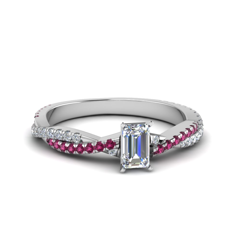 emerald cut twisted vine diamond engagement ring for women with pink sapphire in 14K white gold FD8233EMRGSADRPI NL WG