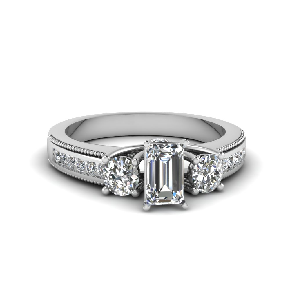 3 stone milgrain emerald cut diamond engagement ring in FDENR7325EMR NL WG
