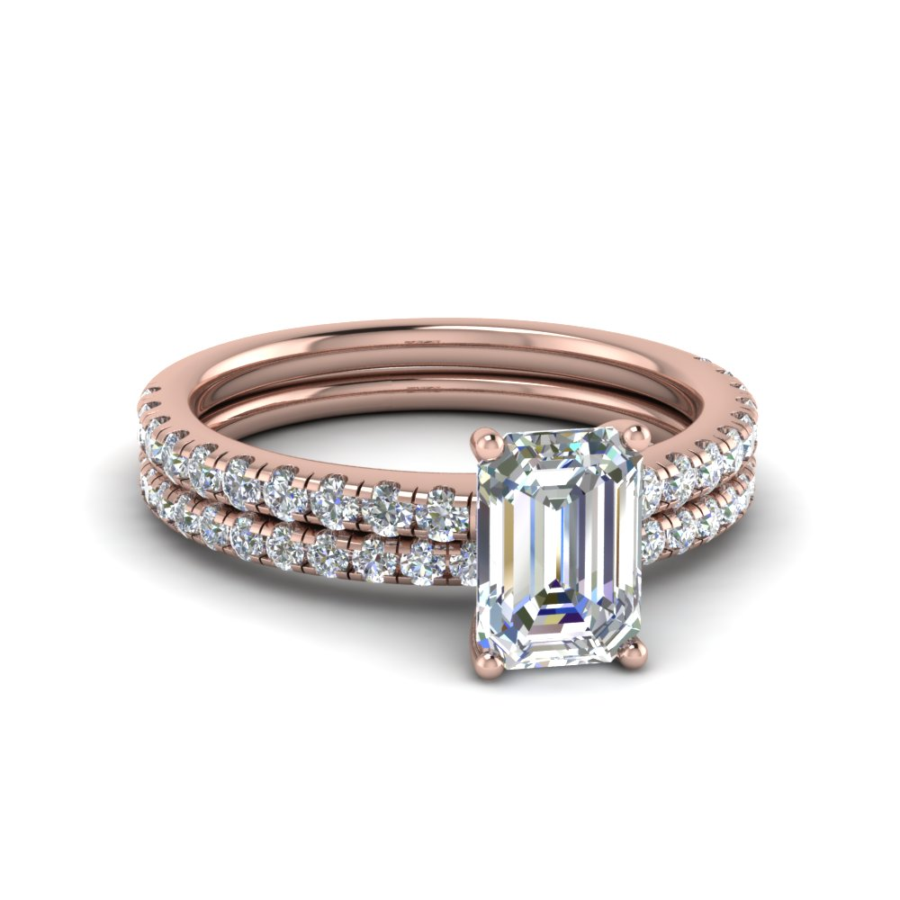 Rose Gold Emerald Cut Wedding Sets