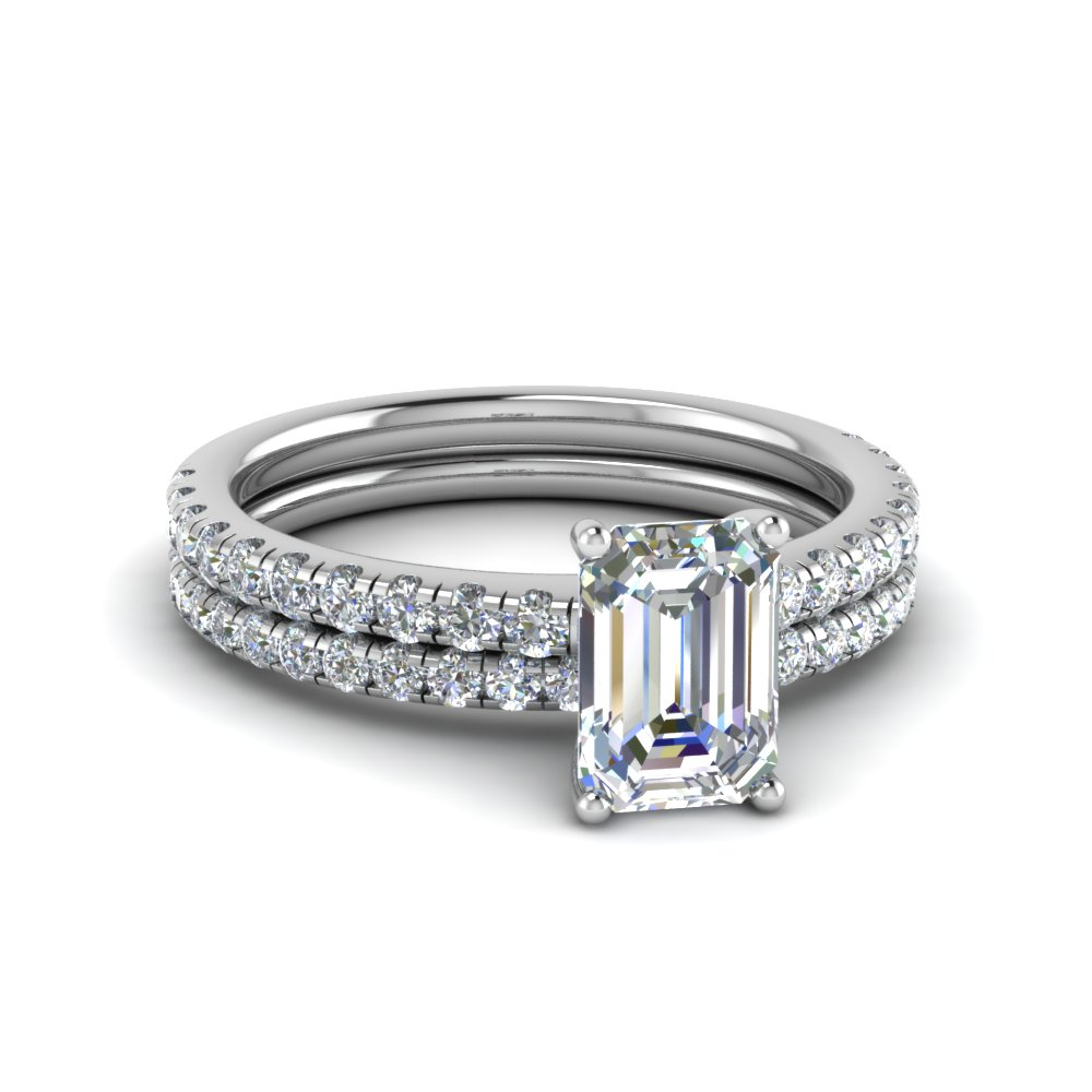 U Prong Diamond Wedding Ring Set