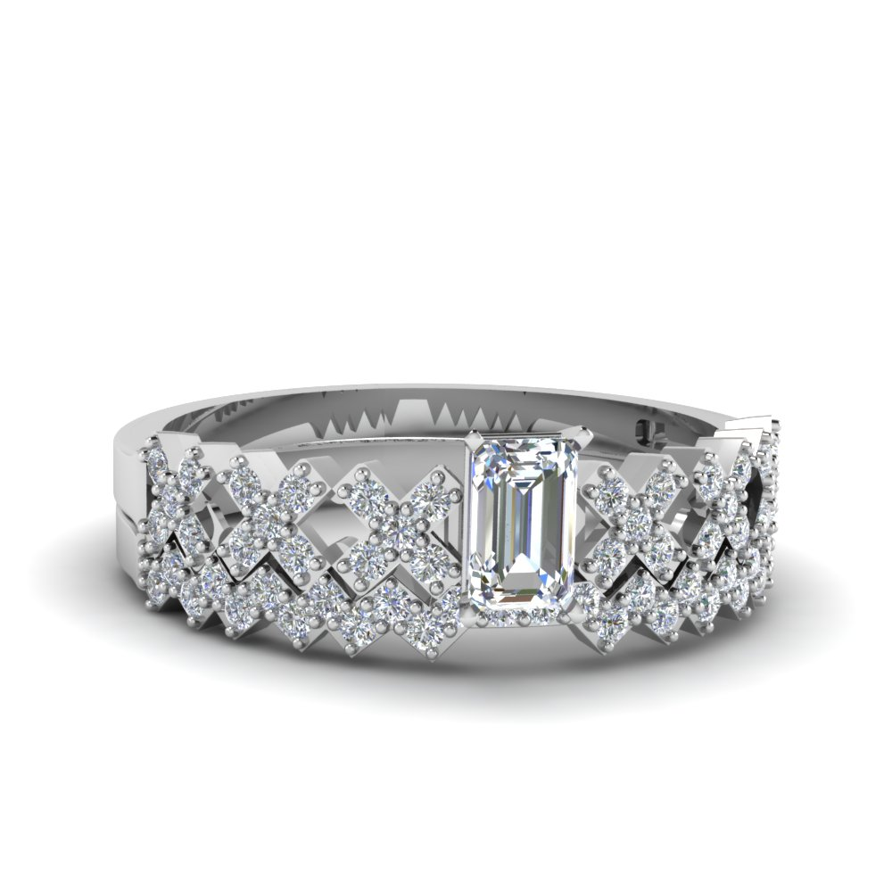 Emerald Cut diamond Wedding Ring Sets with White Diamond in 14K White Gold