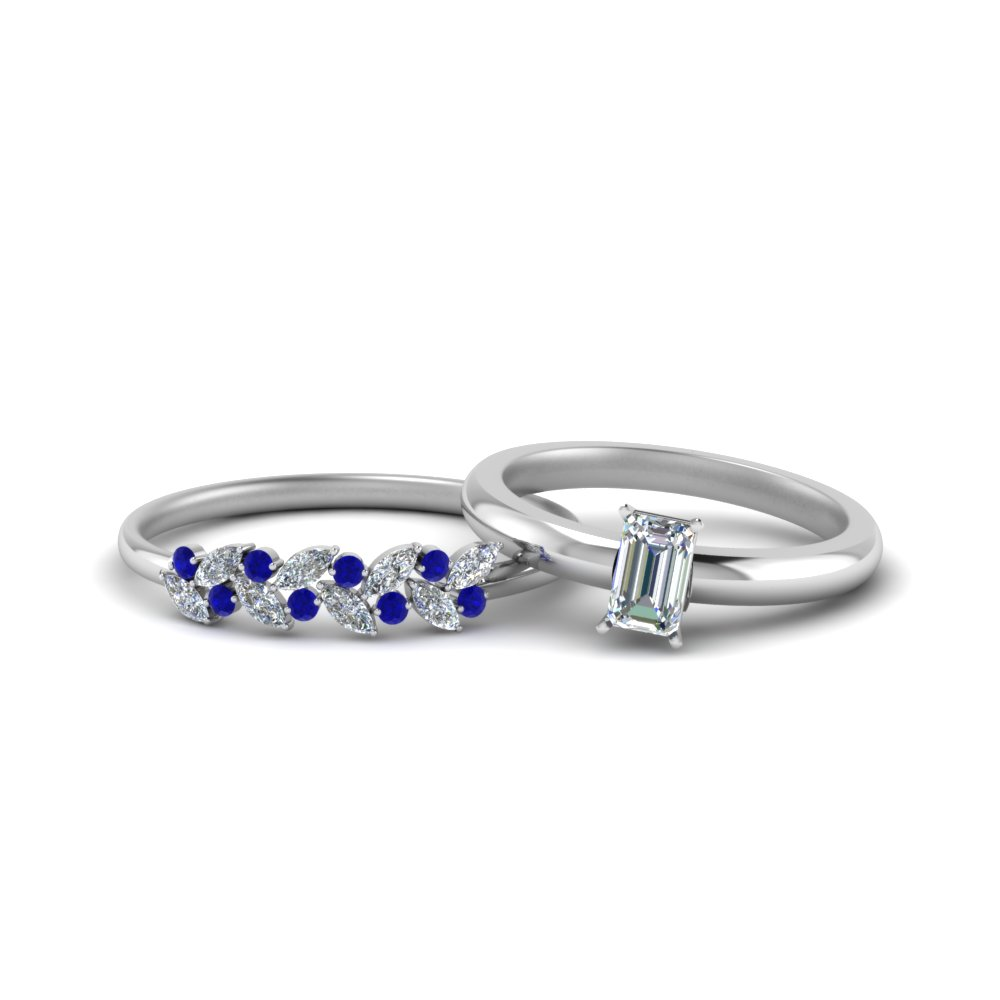 Emerald Cut Wedding Sets With Sapphire