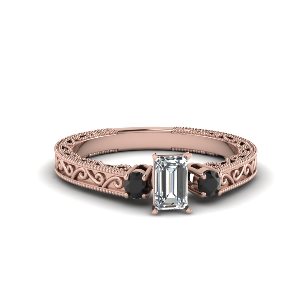 Emerald Cut Rose Gold Black Diamond Ring