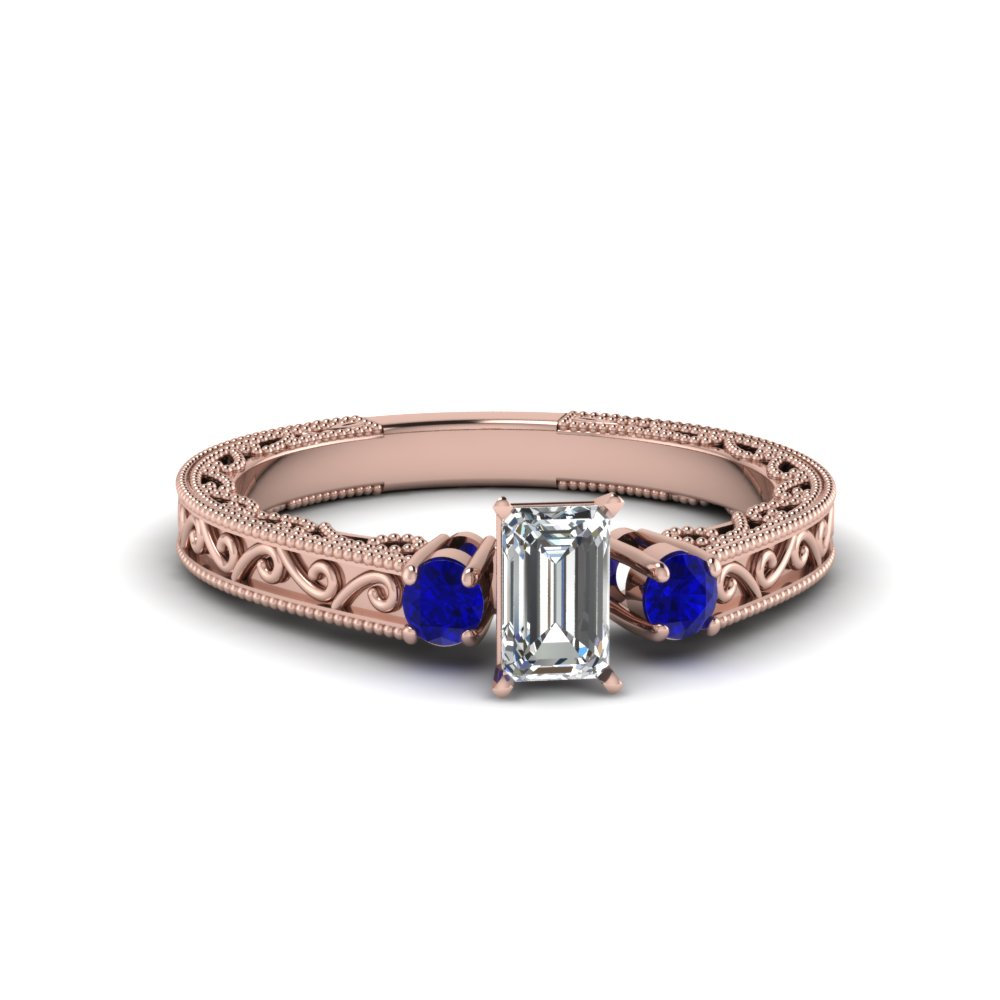 Emerald Cut Rose Gold Sapphire Ring