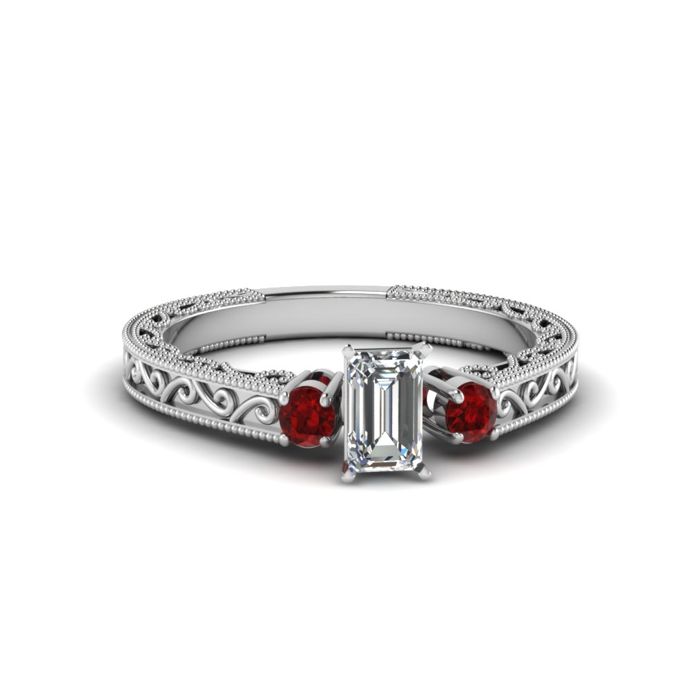 emerald cut vintage style 3 stone diamond engagement ring with ruby in FD69806EMRGRUDR NL WG