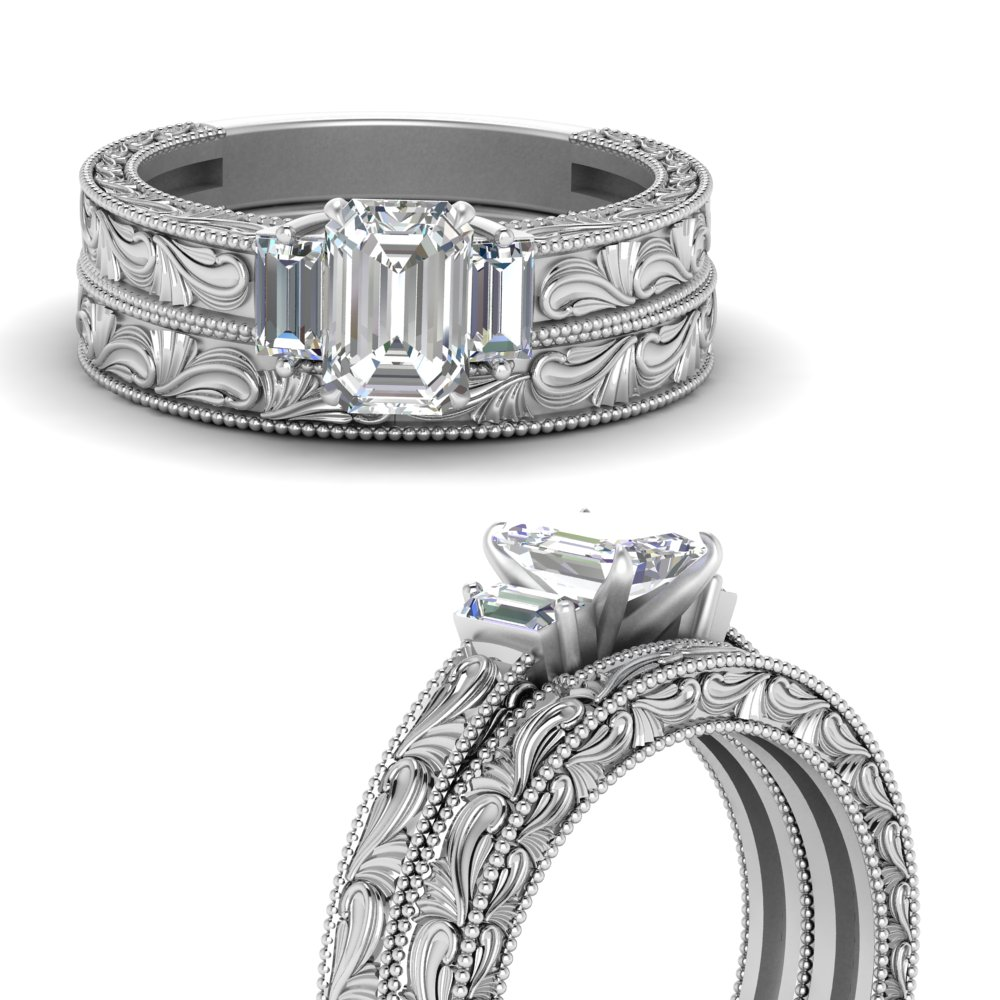 emerald cut with baguette diamond vintage wedding set in 14K white gold FD120191EMANGLE3 NL WG