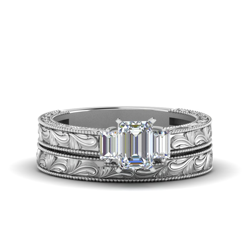 Emerald cut with baguette vintage wedding set in 18k white Depot ringcenter