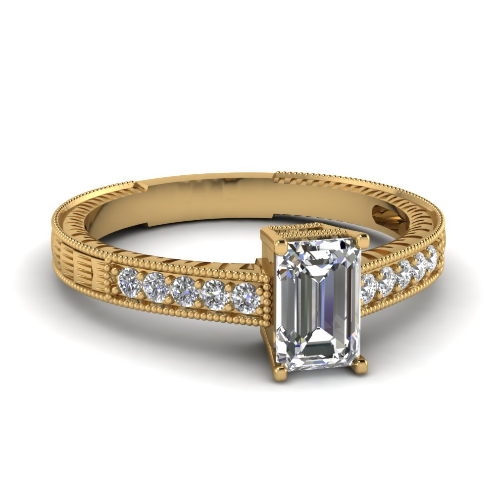 emerald cut gold wedding ring clearance rings with white diamond in 14k yellow gold - Clearance Wedding Rings