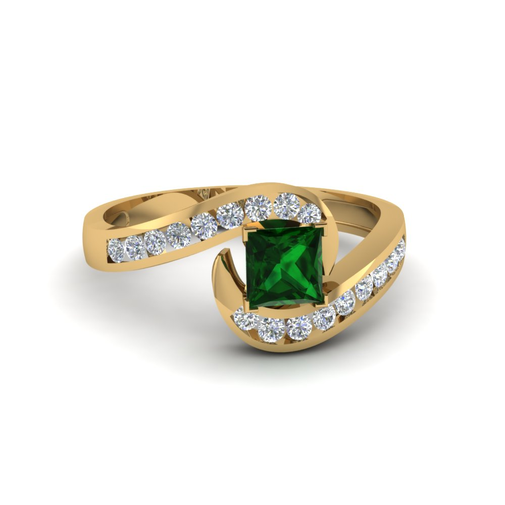 Swirl Emerald Engagement Ring