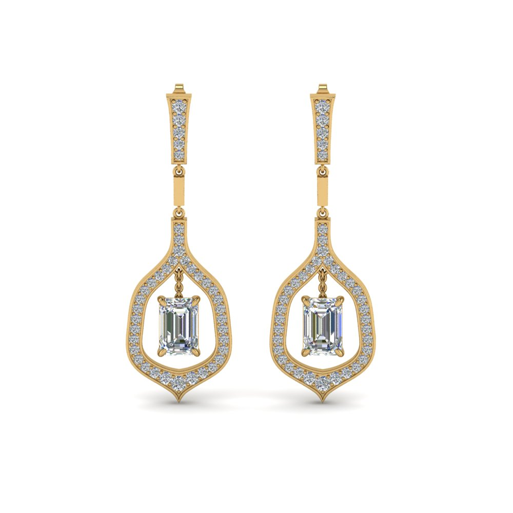 emerald cut drop diamond earring in 14K yellow gold FDEAR8441EMANGLE1 NL YG
