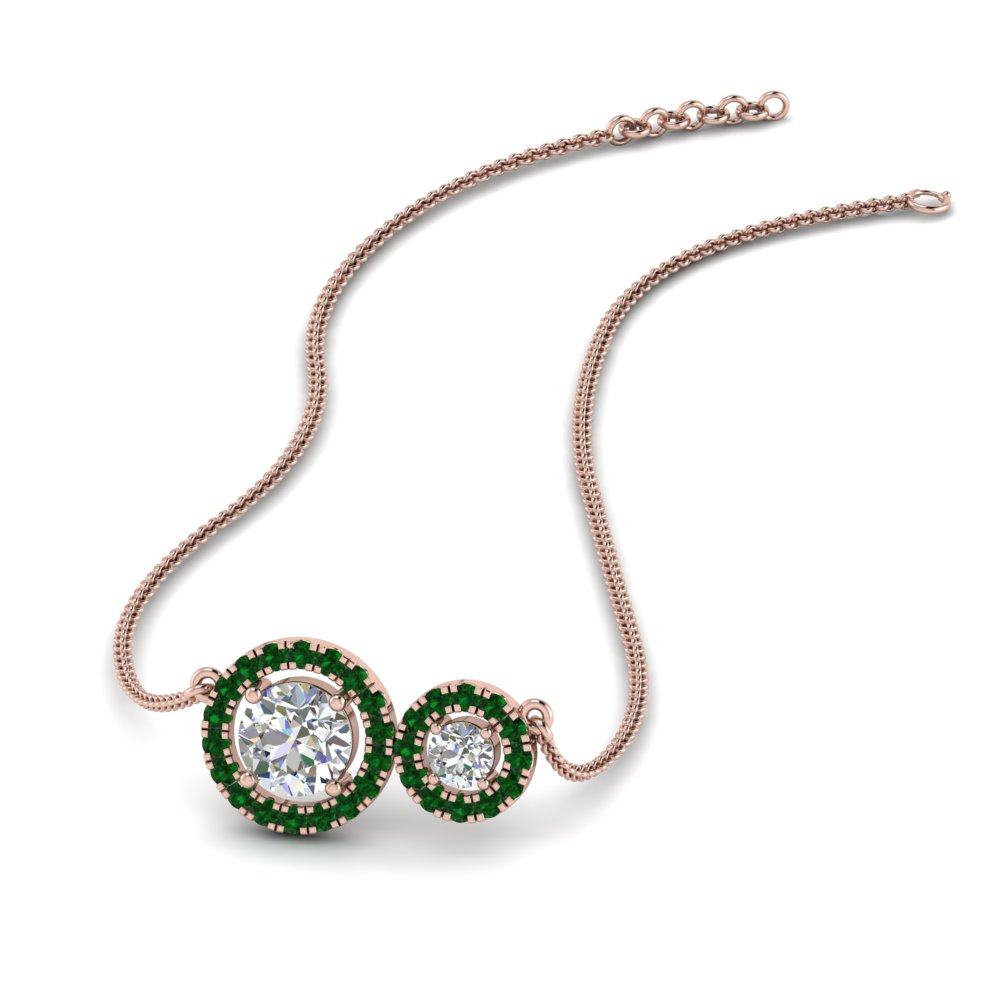 emerald dual halo diamond pendant in FDPD8936GEMGR NL RG