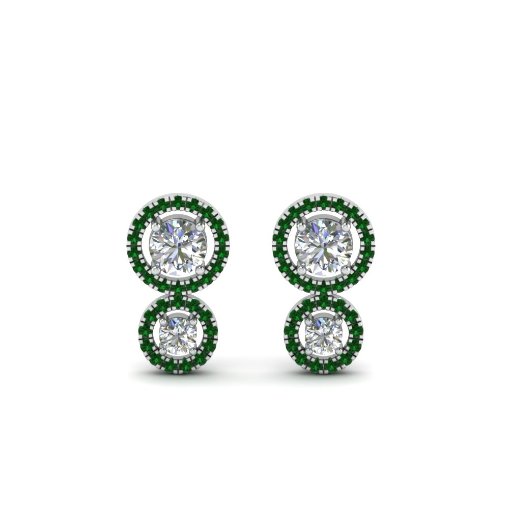 emerald dual halo diamond stud earring in 18K white gold FDEAR8974GEMGRANGLE1 NL WG